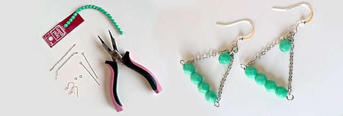 DIY Triangle Earrings with Beads