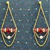 How to make chain earrings with glass beads and acrylic beads
