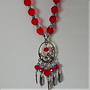 How to bead necklaces-piece of glass bead necklace with strong national customs