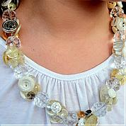 Make A Vintage Button Necklace with Crystal Beads