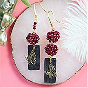 Nbeads Tutorials on How to Make  Vintage Black&Red Butterfly Dangle Earrings