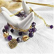 Nbeads Tutorials on How to Make  Double-layer Purple Crystal Bracelet