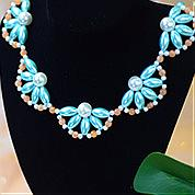 Nbeads Tutorials on How to Make  Elegant Blue Pearl Flower Necklace