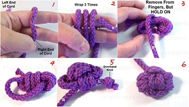 How to tie a Monkey Fist Knot steps