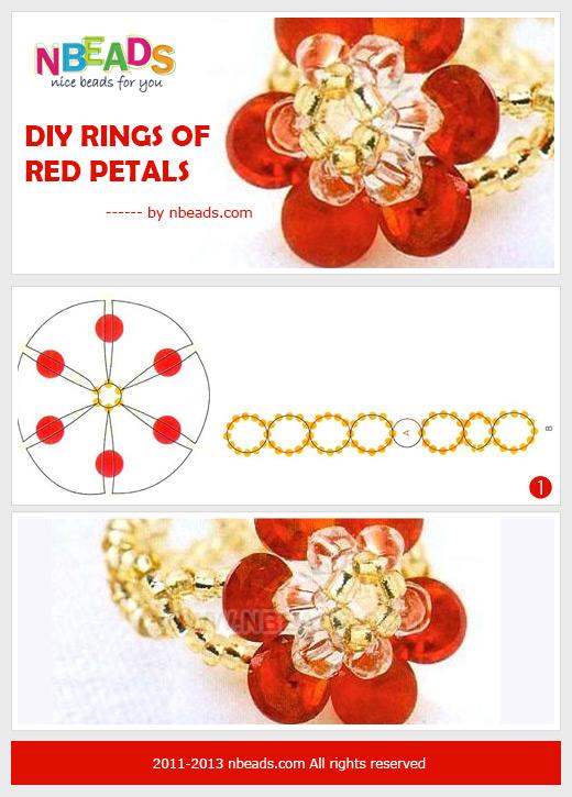 diy rings of red petals
