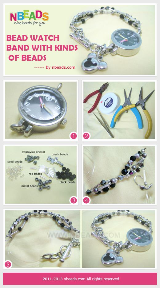 bead watch band with kinds of beads