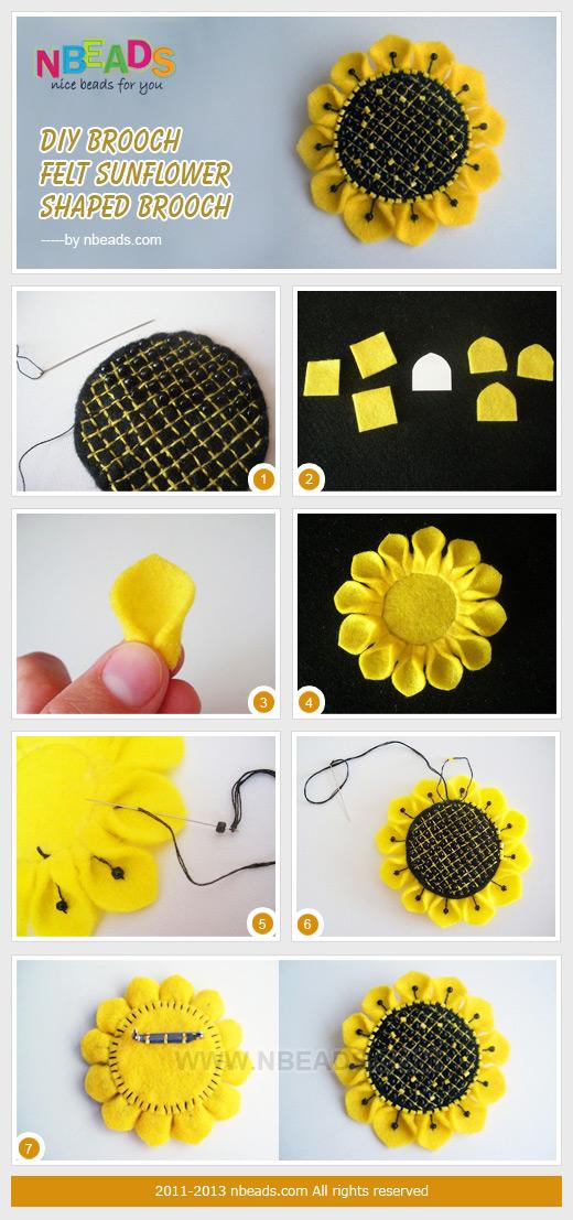 diy brooch-felt sunflower shaped brooch