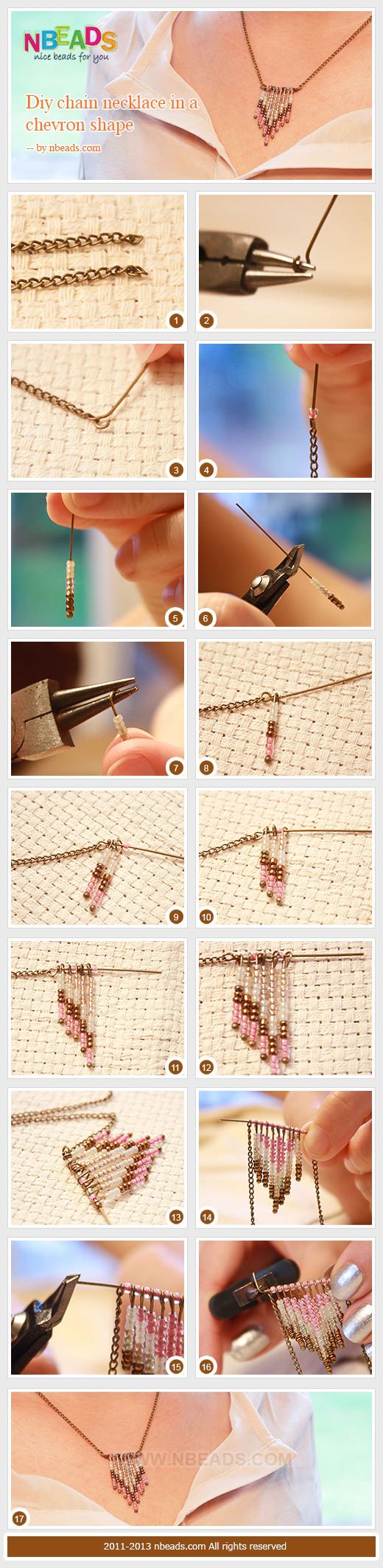 diy chain necklace in a chevron shape