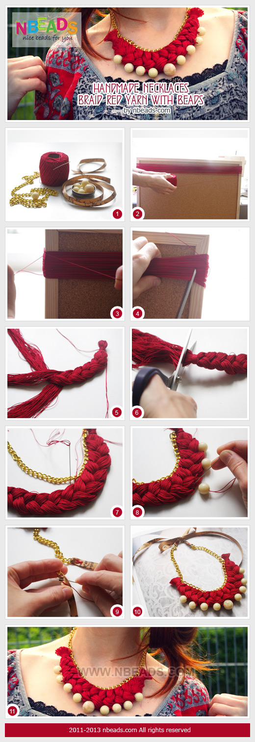 handmade necklaces-braid red yarn with beads