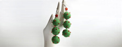 Christmas earrings | DIY Felt Balls Projects And Crafting Ideas