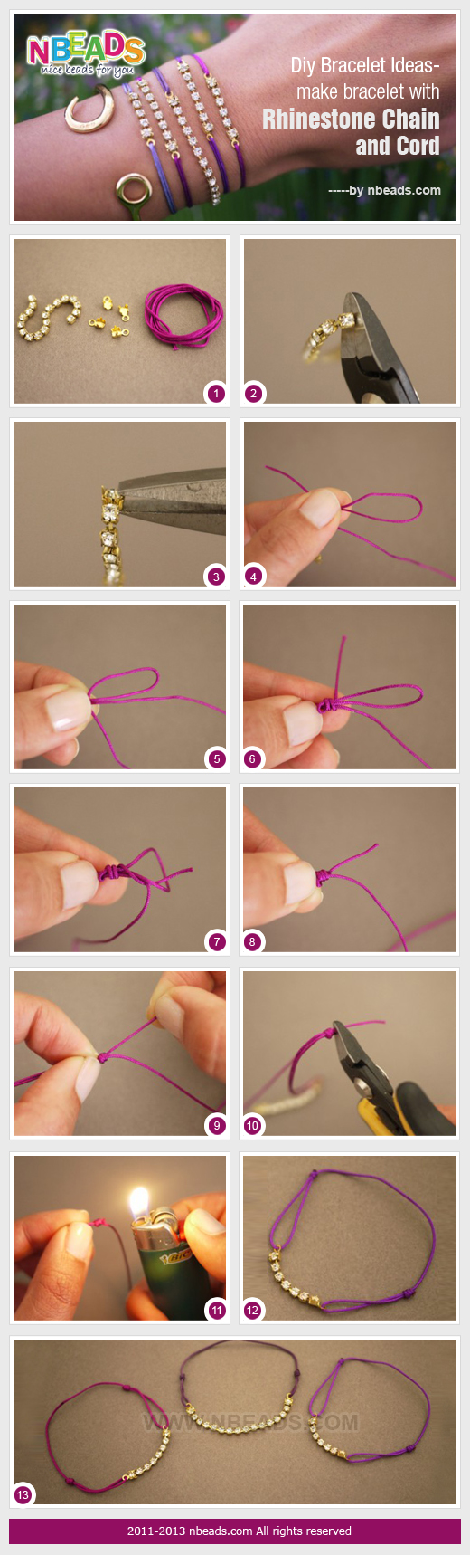 diy bracelet ideas-make bracelet with rhinestone chain and cord