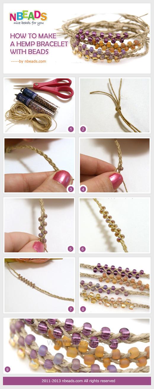 how to make a hemp bracelet with beads