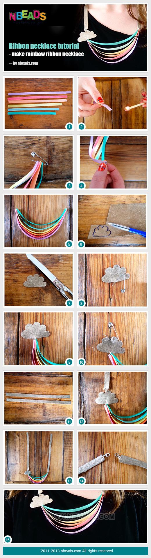 ribbon necklace tutorial - make rainbow ribbon necklace
