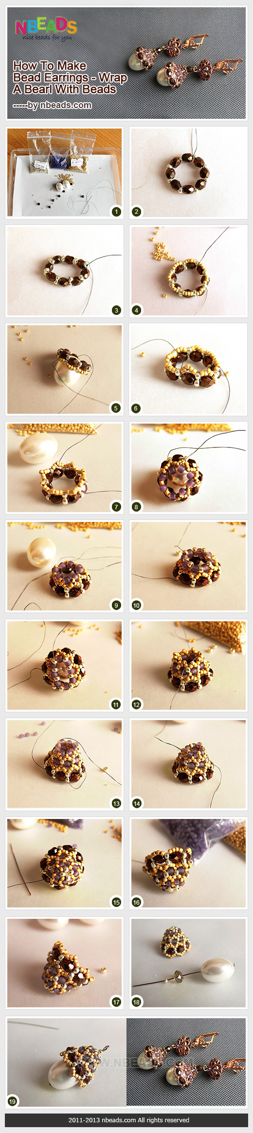 how to make bead earrings - wrap a pearl with beads