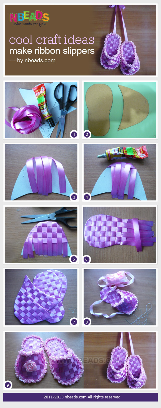 cool craft ideas make ribbon slippers nbeads ForNeat Craft Ideas