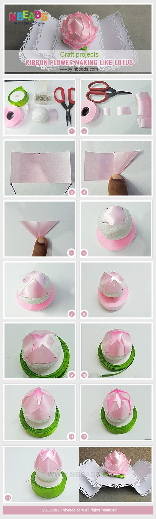 Craft Projects Ribbon Flower Making Like Lotus Nbeads