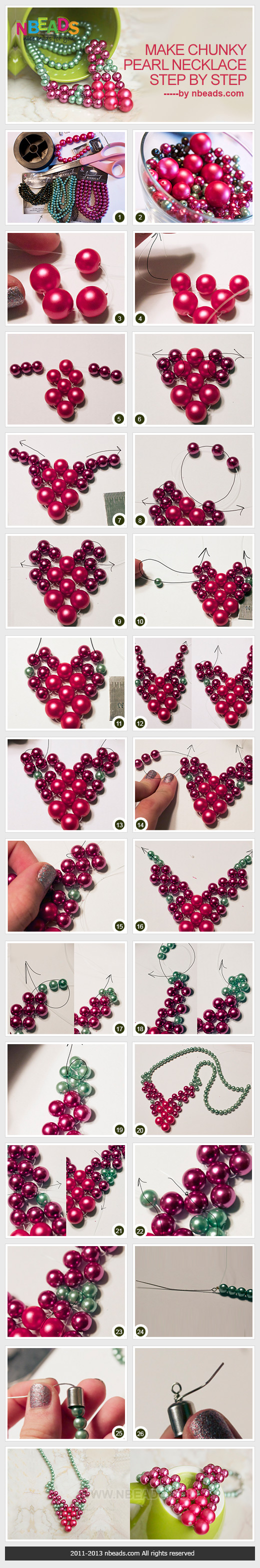 Make Chunky Pearl Necklace Step By Step – Nbeads