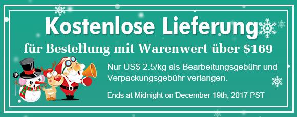 kostenlose Lieferung für Bestellung mit Warenwert über $169 Nur US$ 2.5/kg als Bearbeitungsgebühr und Verpackungsgebühr verlangen.