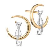 Kitten Sterling Silver Ear Studs