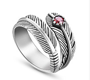 Feather 925 Silver Cuff Ring