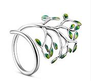 Enamel Tree 925 Silver Cuff Ring