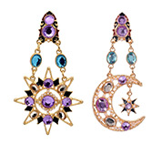 Star & Moon Rhinestone Ear Studs