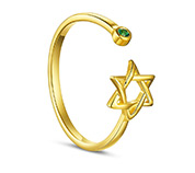 Hexagram Shape Cuff Ring