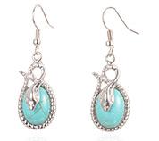 Oval Synthetic Turquoise  Earrings