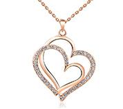Double Heart Pendant Necklaces