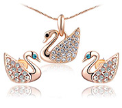 Swan Pendant Necklaces and Earrings