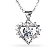 CZ Heart Pendant Necklaces