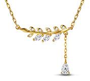 Leaf CZ Pendant Necklaces