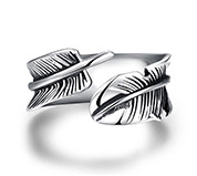Stainless Steel Feather Cuff Rings