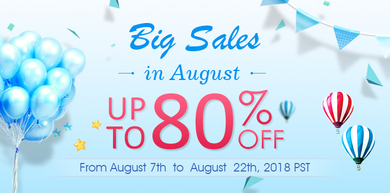 Big Sales in August Up To 80% OFF