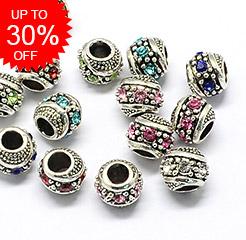 Glass Rhinestone European Beads Up to 30% OFF