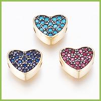 Brass Micro Pave Cubic Zirconia Beads