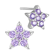 925 Sterling Silver Ear Studs, with Micro Pave AAA Cubic Zirconia