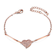 Alloy Link Bracelets  with AAA Micro Pave Cubic Zirconia