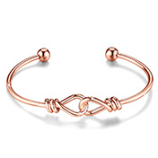 Brass Cuff Bangle with Two Knots Linked