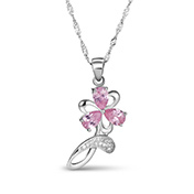 Flower Gorgeous Platinum Plated 925 Sterling Silver Pendant Necklaces