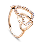 Heart Adorable Environmental 18K Gold Plated Brass Cuff Rings