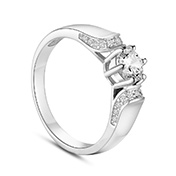 Sterling Silver Finger Ring, with Micro Pave 5A Cubic Zirconia