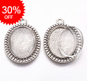 Tibetan Style Alloy Pendant Cabochon Settings and Glass Cabochons