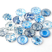 Blue and White Floral Printed Glass Cabochons