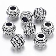 Antique Silver Alloy Tibetan Style Barrel Beads