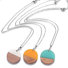 Flat Round Resin & Wood Pendant Necklaces