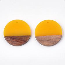 Flat Round Resin & Wood Pendants
