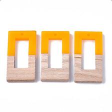 Gold Resin & Wood Pendants