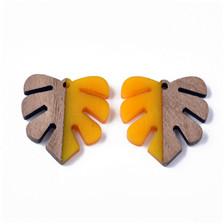 Monstera Leaf Resin & Wood Pendants
