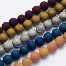 Electroplate Natural Druzy Agate Beads Strands